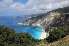 Myrtos strand, Kefalonia ö, Grekland Fotografering för Bildbyråer