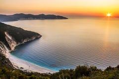 Myrtos-Strand in Kefalonia Stockfoto