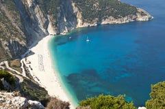 Myrtos-Strand, Kefalonia, Griechenland Lizenzfreie Stockfotos