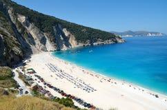 Myrtos-Strand von Kefalonia-Insel Stockfotos