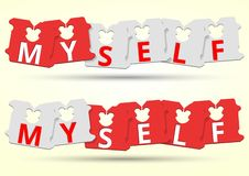 Myself Bread Clip color red and white. royalty free illustration