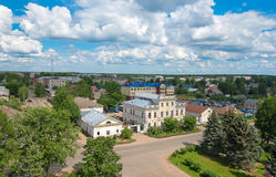 Myshkin. RUSSIA, MYSHKIN-AUGUST 14: Myshkin on the Volga. View from the bell tower of the Cathedral of the Assumption, Russia August 14, 2014 Stock Image