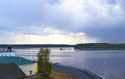 MYSHKIN, RUSSIA - MAY 04, 2016: rain over the river Volga Stock Photos