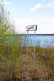 Myshkin, Russia - may, 04, 2016: Road sign. Road sign, saying that the territory of the town of Myshkin ended Royalty Free Stock Photography