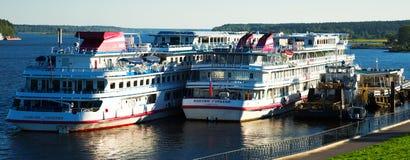 Myshkin ships editorial. MYSHKIN, RUSSIAN - AUGUST 27, 2016:View on cruise liners waiting near town terminal on Volga river in Myshkin, Russia Stock Photography