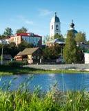 Myshkin town cityscape. View on small provincial town Myshkin located on Volga river Stock Image