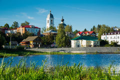 Myshkin from water. Provincial town Myshkin cityscape outstanding on waterfront of Volga river Stock Photos