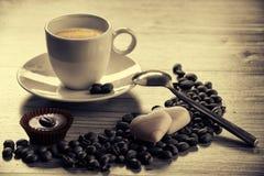 Mysigt morgonkaffe arkivfoton
