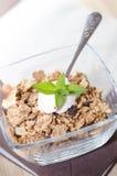 Mysli i en bunke med yoghurt, mintkaramellen och ny frukt arkivbild