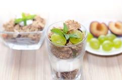 Mysli i en bunke och ett exponeringsglas med yoghurt, mintkaramellen och ny frukt Royaltyfria Foton