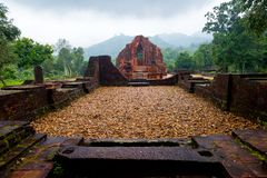 MySon temple in perspective cloudy weather Vietnam Stock Photo