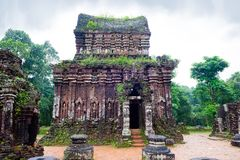 MySon temples in cloudy weather Vietnam Stock Image