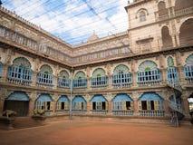 Colorful ornate interior halls of royal Mysore Palace, Karnataka, India stock photography