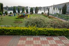 Free Mysore, Karnataka / India - January 01 202: Beautiful Flowers And Water Fountains In Brindavan Gardens During Sunset With KRS Dam Stock Image - 169943601