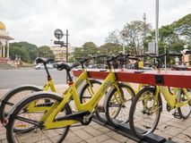 Bicycle sharing station in the city of Mysore. royalty free stock photography