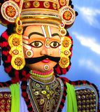 Mysore, Karnataka, India - January 1, 2009 Huge colorful tableaux statue of a Yakshagana male dance character. Huge colorful tableaux statue of a Yakshagana male royalty free stock photo