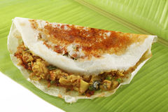 Mysore Masala Dosa met aardappel Masala wordt gevuld die Stock Foto