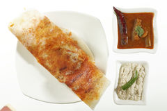 Mysore Masala Dosa Stuffed With potato Masala, Chutney And Sambhar Royalty Free Stock Photography