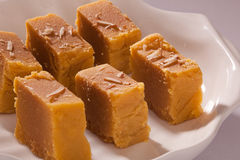 Mysore Pak is a traditional sweet from India Stock Photo