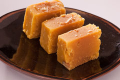 Mysore Pak is a traditional sweet from India Stock Images