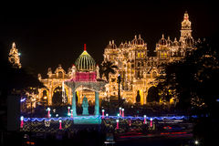 Mysore palace decked up for Dasara Stock Images
