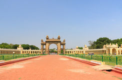 Mysore Palace gate. Mysore Karnataka Royal Palace is one of the grandest in India. Lovingly restored in 1912 after a fire burned it down. It's sheer size and Royalty Free Stock Images
