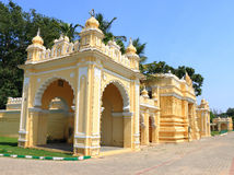Mysore Palace gate. Mysore Karnataka Royal Palace is one of the grandest in India. Lovingly restored in 1912 after a fire burned it down. It's sheer size and Royalty Free Stock Photos