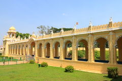 Mysore Palace gate. Mysore Karnataka Royal Palace is one of the grandest in India. Lovingly restored in 1912 after a fire burned it down. It's sheer size and Stock Photo