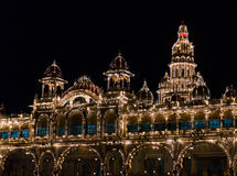 Mysore Palace illuminated by thousands of lightbulbs. Mysore, Karnataka, India Royalty Free Stock Photo