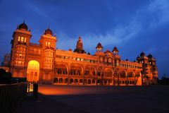Mysore Palace in India illuminated at night. The ancient Mysore Palace in India is illuminated every night Stock Image