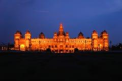 Mysore Palace in India illuminated at night. The ancient Mysore Palace in India is illuminated every night Stock Photography