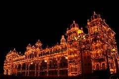 Mysore palace light show Royalty Free Stock Images
