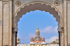 Mysore palace through the main gate. India Stock Image