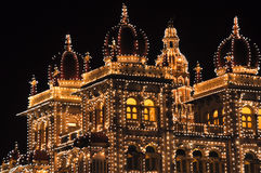 The Mysore Palace at night Stock Photography