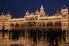 Mysore Palace At Night Royalty Free Stock Photography