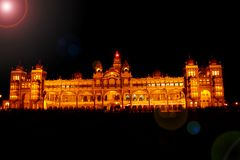 Mysore palace in night Royalty Free Stock Images