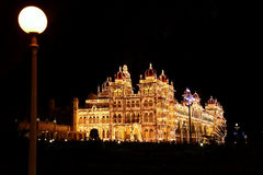 The Mysore Palace at night Royalty Free Stock Photography