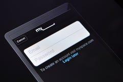 MySpace在Apple iPad的登录页 免版税库存图片
