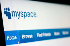 Myspace. Internet community site on computer screen main page focused Stock Photography