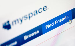 Myspace. Internet community site on computer screen main page focused Stock Image