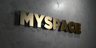 Myspace - Gold sign mounted on glossy marble wall  - 3D rendered royalty free stock illustration. This image can be used for an online website banner ad or a Royalty Free Stock Images