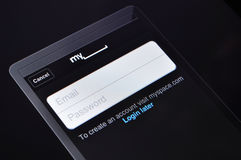 MySpace Login Page on Apple iPad Royalty Free Stock Image