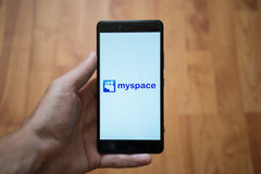 Myspace logo on smartphone screen Royalty Free Stock Photos