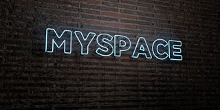 MYSPACE -Realistic Neon Sign on Brick Wall background - 3D rendered royalty free stock image Stock Photo