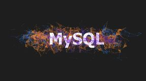 MySQL database banner with colorful plexus design