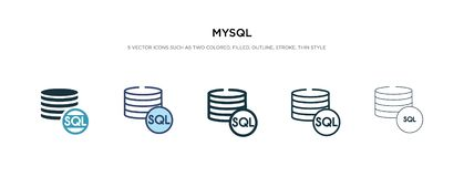 Mysql icon in different style vector illustration. two colored and black mysql vector icons designed in filled, outline, line and
