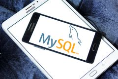 MySQL open source web application logo. Logo of MySQL open source web application on samsung mobile. MySQL is an open-source relational database management Royalty Free Stock Photography