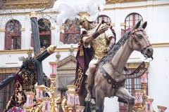 Mystère d'étape de la fraternité de l'espoir de Triana, Pâques en Séville Photographie stock
