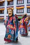 Mystère de Cham de danse de moine bouddhiste dans Lamayuru, Inde Image libre de droits