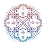 Mystère lumineux, symbole ésotérique occulte d'isolement sur le fond blanc illustration libre de droits